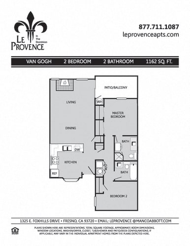 Floor Plan  Van Gogh, Downstairs Floor Plan at Le Provence at the Dominion, Fresno, California