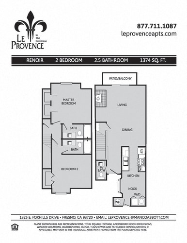 Floor Plan  Renoir, Townhouse Floor Plan at Le Provence at the Dominion, California
