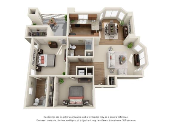 Floor Plan  2 Bedroom 3D Floorplan