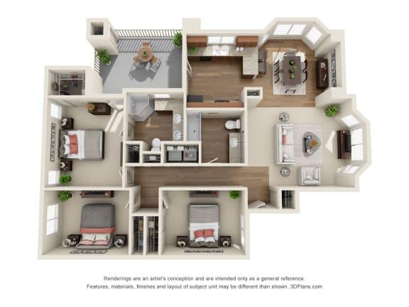 Floor Plan  3 Bedroom 3D Floorplan