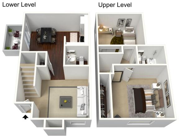 Floor Plan  2 Bedroom 1.5 bathroom townhome 3D floor plan