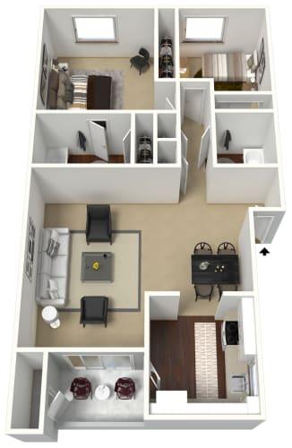 Floor Plan  2 bedroom 2 bathroom 3D floor plan