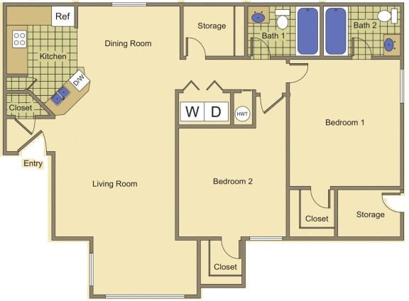 Floor Plan  2 bedroom 2 bathroom at Bella Vita in Bullhead City, AZ, opens a dialog.