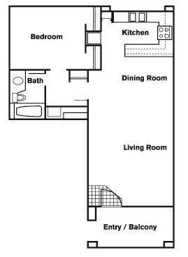 Floor Plan  1 Bed 1 Bath D Floor Plan at Elevate at Discovery Park, Tempe, Arizona