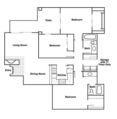 Floor Plan  3 Bed 2 Bath B Floor Plan at Elevate at Discovery Park, Tempe, Arizona