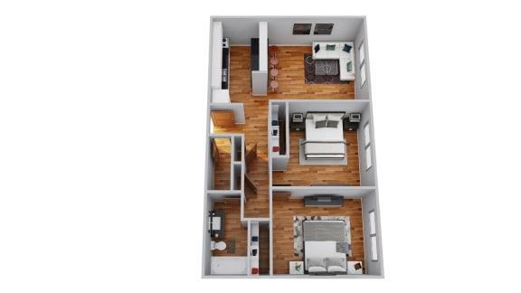 Floor Plan  The Broadmoor Apartments 2 Bedroom 3D Floor Plan