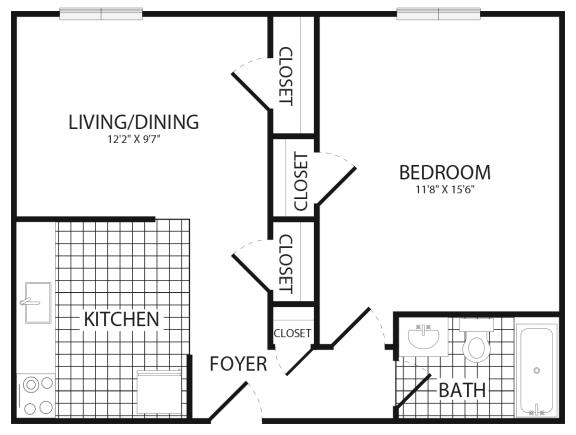 Floor Plan  1 Bedroom 1 Bath, opens a dialog.