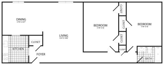 Floor Plan  2 bedroom 1 bath, opens a dialog.