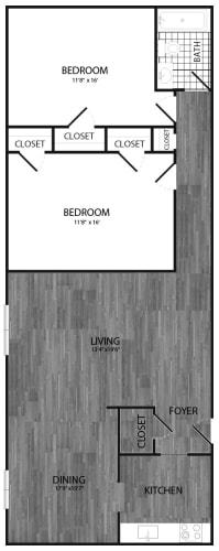 Floor Plan  2 Bedroom, Renovated, opens a dialog.