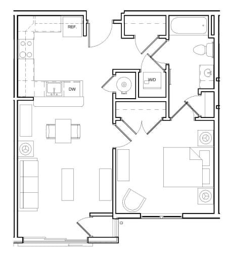 Floor Plan  One-Bedroom- 1A, opens a dialog.