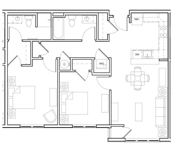 Floor Plan  Two-Bedroom- 2B, opens a dialog.