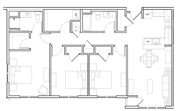 Floor Plan  Three-Bedroom- 3A, opens a dialog.
