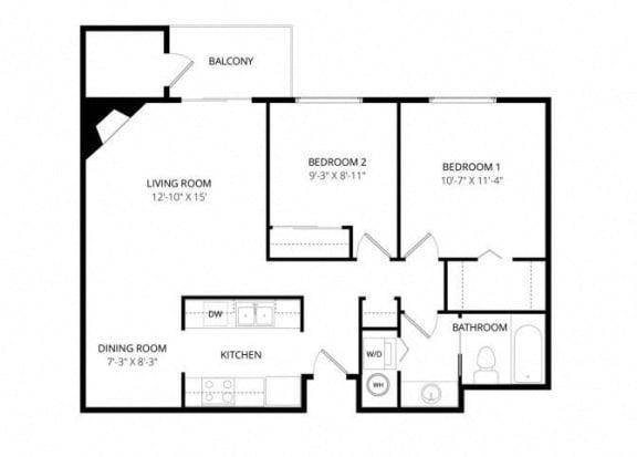 Floor Plan  Bayview Apartment Homes Federal Way, Washington 2 Bedroom 1 Bath Floor Plan