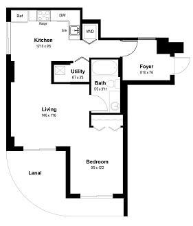 Floor Plan  Unit E - Studio