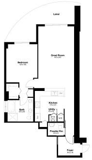 Floor Plan  Unit F - 1 Bedroom