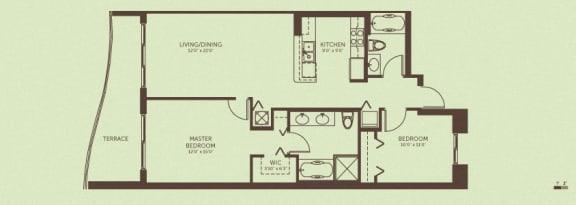 Floor Plan  Unit B - 2 Bedroom