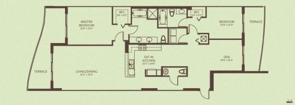 Floor Plan  Unit D - 2 Bedroom + Den