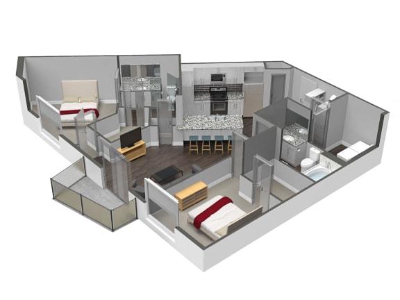 Floor Plan  2 Bed 2 Bath Floor Plan at Spoke Apartments, Atlanta, 30307