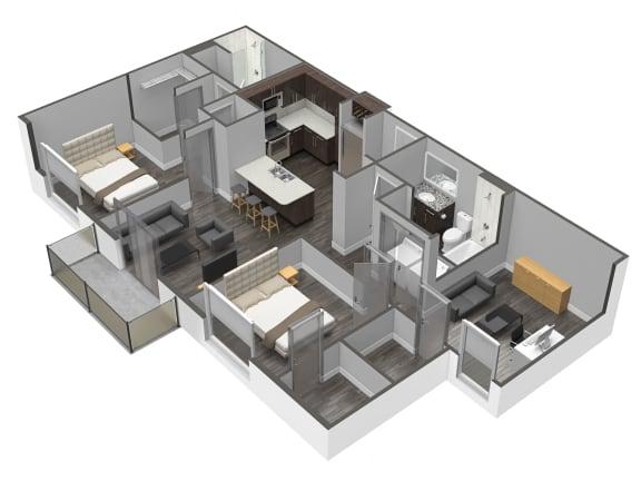 Floor Plan  3 Bedroom 2 Bathroom Floor Plan at Spoke Apartments, Georgia