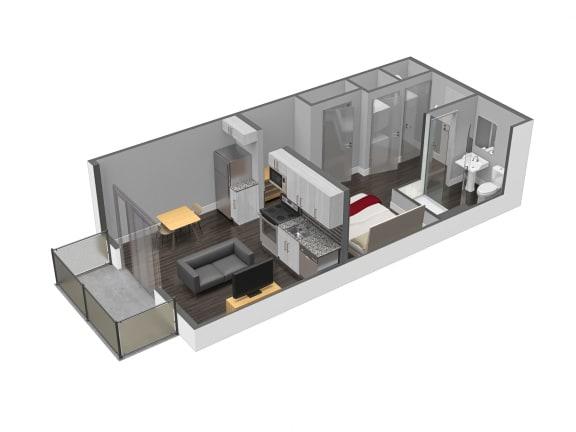 Floor Plan  0 Bed 1 Bath Floor Plan at Spoke Apartments, Atlanta, GA