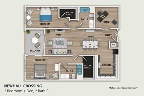 Floor Plan  2 Bedroom With Den F