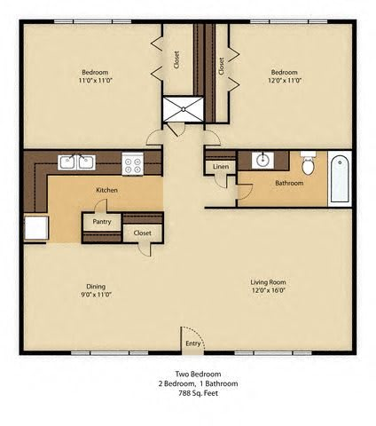 Floor Plan  Fort Lowell Apartments 2x2, opens a dialog.