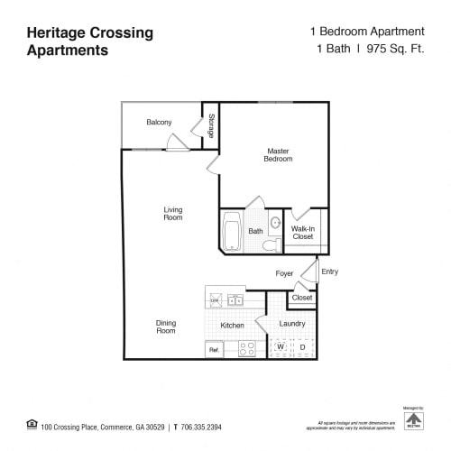 Floor Plan  1 Bed 1 Bath Floor Plan at Heritage Crossing Apartments, Georgia, 30529