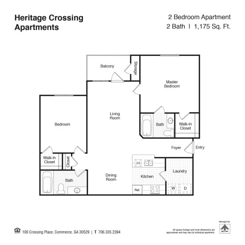 Floor Plan  2 Bedroom 2 Bathroom Floor Plan at Heritage Crossing Apartments, Commerce, GA, 30529