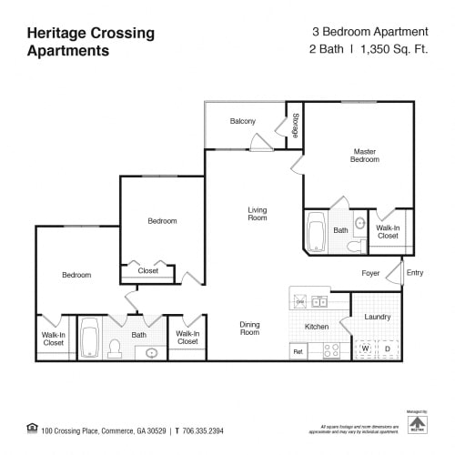 Floor Plan  3 Bed, 2 Bath Floor Plan at Heritage Crossing Apartments, Commerce, GA