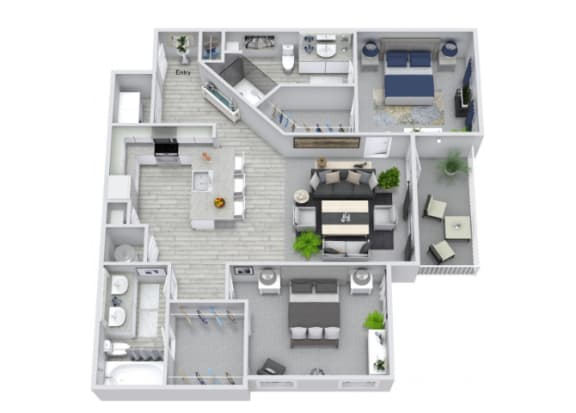 Floor Plan  B2 Floor Plan at The Columns on Main, Tennessee, 37174