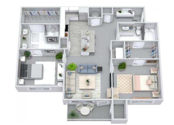 Floor Plan  B3 Floor Plan at The Columns on Main, Spring Hill, TN, 37174