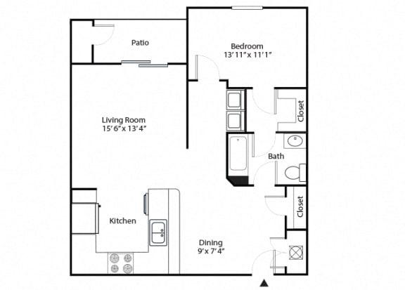 Floor Plan  aspen 1 bedroom 1 bathroom floor plan