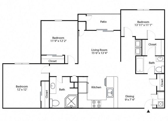 Floor Plan  chestnut 3 bedroom 2 bathroom floor plan