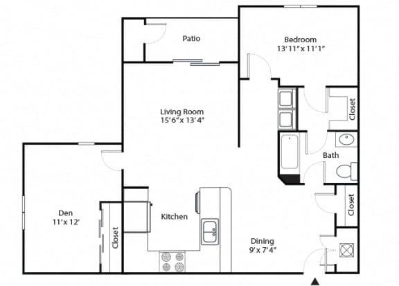Floor Plan  maple 2 bedroom 1 bathroom floor plan