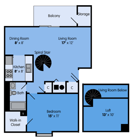 Floor Plan  THE ASH LOFT Floor Plan at Woodbridge Apartments, Louisville, KY
