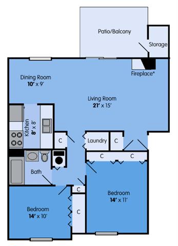 Floor Plan  THE ASPEN Floor Plan at Woodbridge Apartments, Louisville