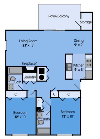 Floor Plan  THE ELM Floor Plan at Woodbridge Apartments, Kentucky