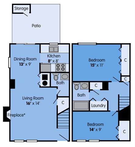 Floor Plan  THE SYCAMORE Floor Plan at Woodbridge Apartments, Kentucky, 40242