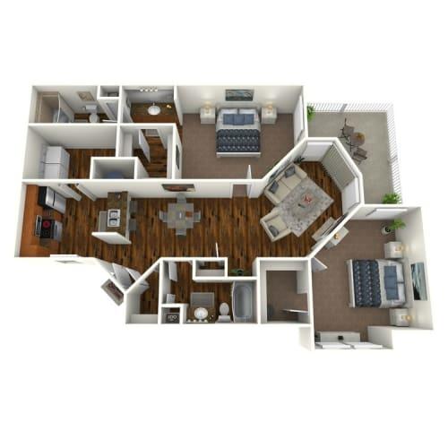 Floor Plan  The Altitude at Blue Ash Magnolia Two Bedroom Floor Plan
