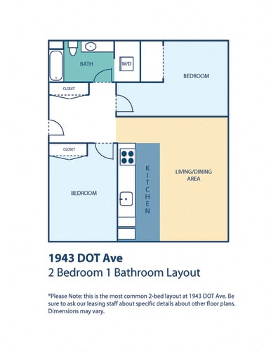 Floor Plan  1943 DOT Ave Apartments Two Bedroom One Bath No Island