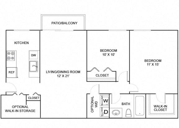 Floor Plan  apple 2x1 872 sf