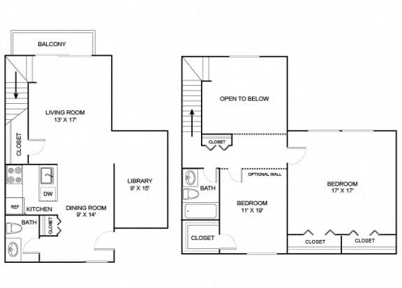 Floor Plan  beech 2x1.5 1195 sf