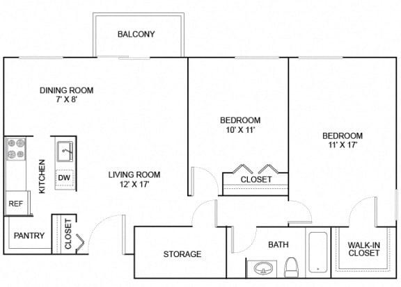 Floor Plan  bonzai 2x1 896 sf