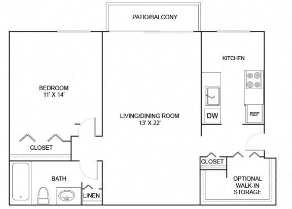 Floor Plan  cardinal 1x1 644 SF