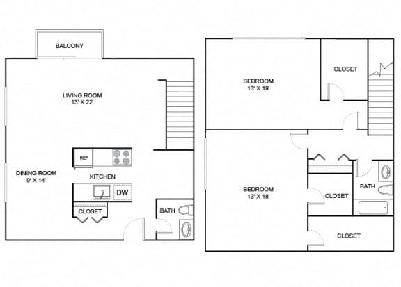 Floor Plan  cottonwood floor plan 2 bedroom 2 bath