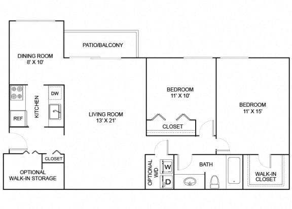 Floor Plan  Spruce 2x1 970