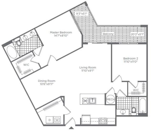 Floor Plan  2BA 2BA