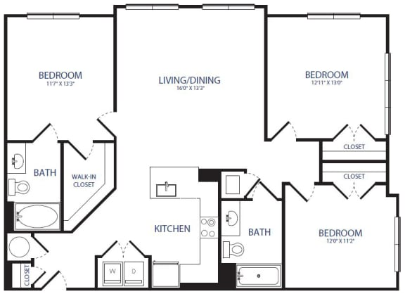 Floor Plan  3BR 2 BA