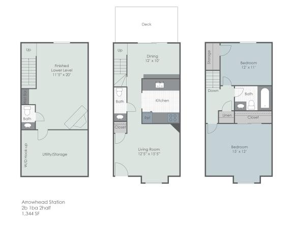 Floor Plan  Three bedroom townhome floor plan layout, opens a dialog.