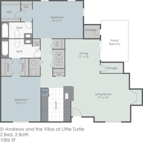 Floor Plan  Two bedroom apartment floor plan layout, opens a dialog.